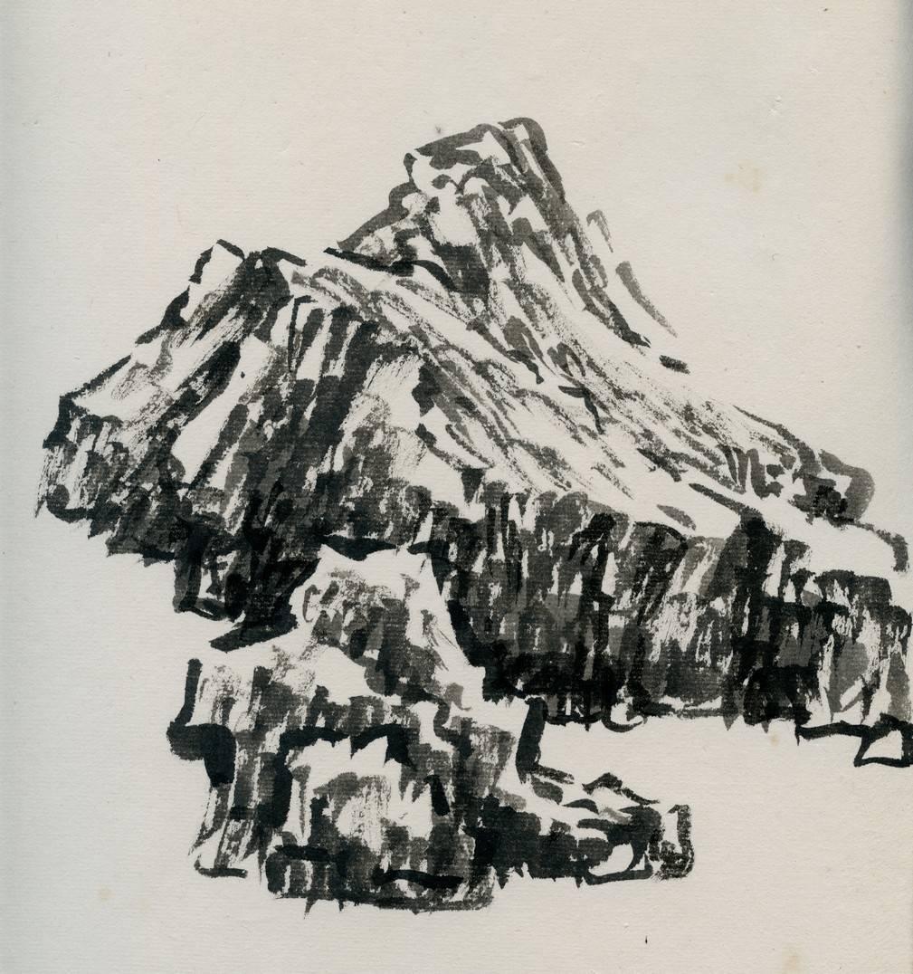基础技法 山石皴法 |张伟平:斧劈皴,豆瓣皴的画法